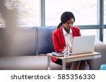 attractive businesswoman... | Shutterstock . vector #585356330