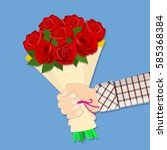 Hand Holding Bouquet Rose...