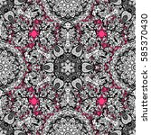 pattern with white doodles on... | Shutterstock . vector #585370430