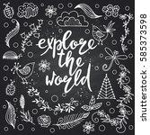 hand drawn themed phrases.... | Shutterstock .eps vector #585373598