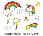 stickers set with unicorn ... | Shutterstock .eps vector #585377198