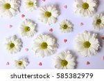 Stock photo beautiful flowers with white petals on a white background with hearts march valentine s day 585382979