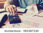 calculation with receipt bill... | Shutterstock . vector #585387230