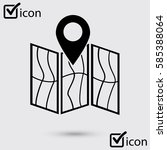 map icon. location symbol. flat ... | Shutterstock .eps vector #585388064