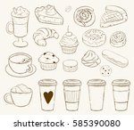 vector set with pasty goods.... | Shutterstock .eps vector #585390080
