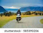 bike trip  new zealand.   Shutterstock . vector #585390206