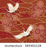 two cranes and chrysanthemums... | Shutterstock .eps vector #585402128