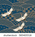 three cranes and multiple... | Shutterstock .eps vector #585405518