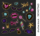 patch badges embroidery set.... | Shutterstock .eps vector #585407063