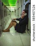technician talking on mobile... | Shutterstock . vector #585407126