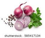 red onions  pepper and parsley... | Shutterstock . vector #585417134