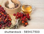 medicinal plants and herbs... | Shutterstock . vector #585417503
