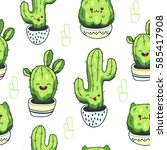 seamless pattern with cute... | Shutterstock .eps vector #585417908