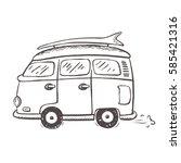 icon of old style minivan... | Shutterstock .eps vector #585421316