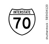 interstate highway 70 road sign.... | Shutterstock .eps vector #585434120