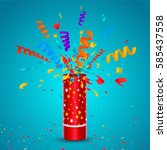 exploding party popper with... | Shutterstock .eps vector #585437558