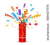 exploding party popper with... | Shutterstock .eps vector #585437570