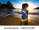 girl with curly hair and... | Shutterstock . vector #585441284