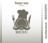 chef icon. chef hat silhouette... | Shutterstock .eps vector #585455093