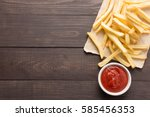 french fries with ketchup on... | Shutterstock . vector #585456353