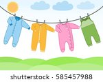 baby bodysuits  rompers and...   Shutterstock .eps vector #585457988
