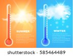 thermometers icons with high... | Shutterstock .eps vector #585464489