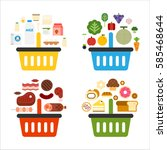 shopping list by item food... | Shutterstock .eps vector #585468644