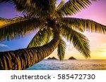gorgeous sunrise at lanikai... | Shutterstock . vector #585472730