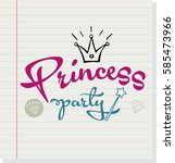 princess party lettering design | Shutterstock .eps vector #585473966
