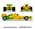 yellow formula racing car ready ...   Shutterstock .eps vector #585482144