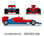 red blue racing car vector | Shutterstock .eps vector #585482168