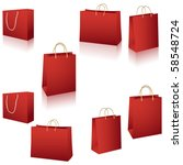 Red paper bags vector set isolated on white - stock vector