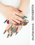 woman hand closeup with... | Shutterstock . vector #585488954