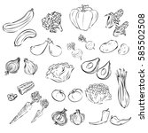vegetables in black and white | Shutterstock .eps vector #585502508