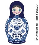 decorative matryoshka doll with ... | Shutterstock .eps vector #585510620