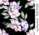 Seamless Pattern With Clematis. ...