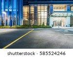 empty asphalt road along modern ... | Shutterstock . vector #585524246