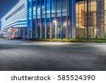 empty asphalt road along modern ... | Shutterstock . vector #585524390