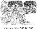 vector hand drawn sketch river... | Shutterstock .eps vector #585541388