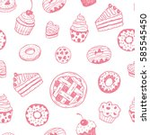 seamless pattern with hand... | Shutterstock .eps vector #585545450