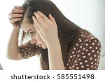 woman with problematic hair | Shutterstock . vector #585551498