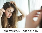 woman with problematic hair | Shutterstock . vector #585551516