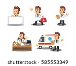 monkey doctor cartoon set | Shutterstock . vector #585553349