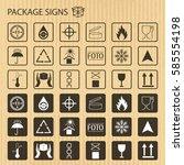 vector packaging symbols on...   Shutterstock .eps vector #585554198