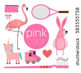 set of pink color items... | Shutterstock .eps vector #585555758