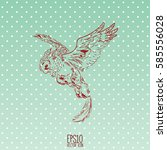 hand drawn vintage griffin ... | Shutterstock .eps vector #585556028