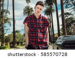 fashionable young sexy man... | Shutterstock . vector #585570728