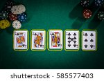 poker concept with cards on... | Shutterstock . vector #585577403