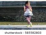 asian girl generation z use... | Shutterstock . vector #585582803