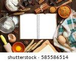 blank cooking book  ingredients ... | Shutterstock . vector #585586514